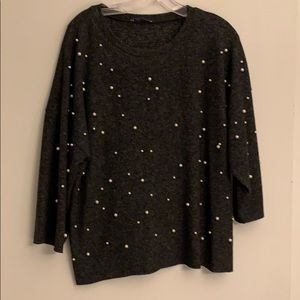 Zara sweater covered in pearls
